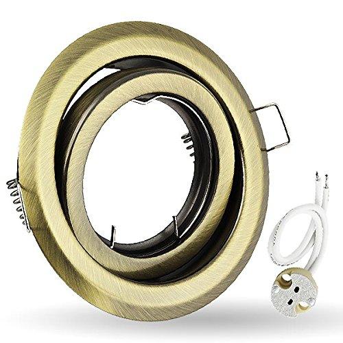 K-19 faretto da incasso orientabile faretto da incasso GU5, 3 MR16 12 V colore anticato oro. Ideale per lampade LED e alogene.