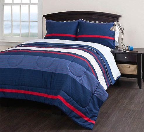 Boys Striped Twin Comforter Set (5 Piece Bedding Set) Blue Red White