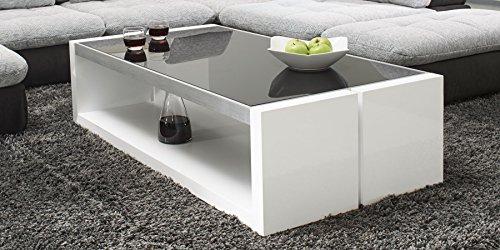 Couchtisch-wei-Hochglanz-mit-Glasplatte-Evo-130x70cm-Glastisch-Aluminium-gebrstet