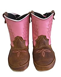Baby Infant Toddler Cowgirl Boots Genuine Leather Western Embroider Pink, 4