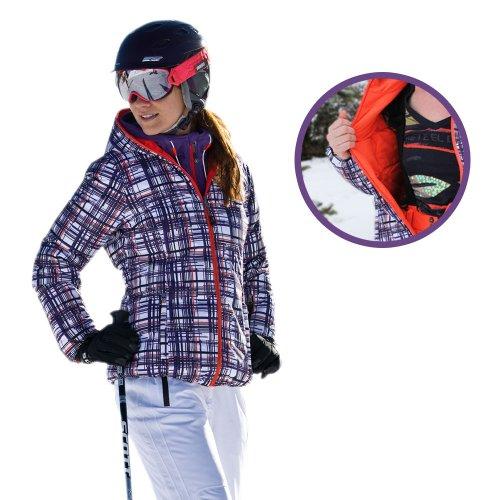 killtec® Motamba Daunen Wende Ski Jacke Winter Jacke Wende Jacke lila feuerrot kariert oder nur rot mit Skipasstasche Kapuze sehr warm durch Daunen