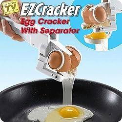 Gadget Hero's EZCracker Handheld Egg Cracker With Separator For Both Raw Or Boiled Eggs.