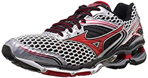 Mizuno Men's Wave Creation 17 Running Shoe, Silver/Chinese Red, 12.5 D US