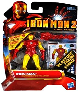 Iron Man 2 Comic Series Classic Armor Iron Man Blast Off Action Figure Stand.