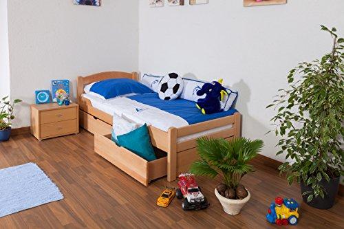 """Lit pour enfant/adolescent """"Easy Sleep"""" K1/2n avec 2tiroirs et 2panneaux de masquage, 90 x 200 cm en hêtre massif naturel"""