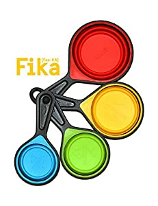 FIKA Scandinavian Tradition Collapsible Silicone Measuring Cups - 4 Piece Set Kitchen Utensil Dry or Liquid
