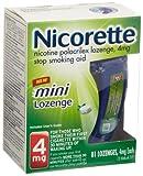 Nicorette mini Nicotine Lozenge Mint 4 milligram Stop Smoking Aid 81 count