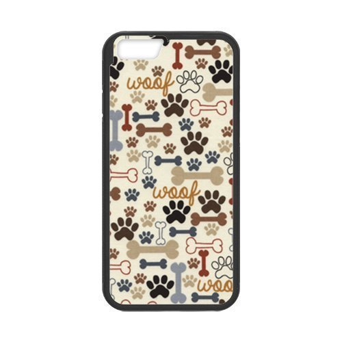 Dog Paws And Bone Custom Phone Cases Design for iphone 6 Case with Black Laser Technology