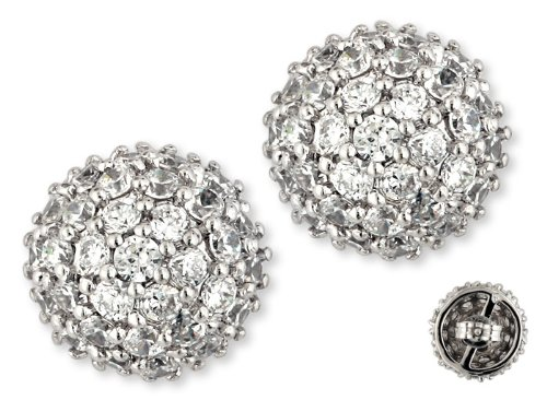 Bridal Pavé-Set C.Z. Diamond Cluster Ball Stud Earrings (Nice Gift, Special Sale)