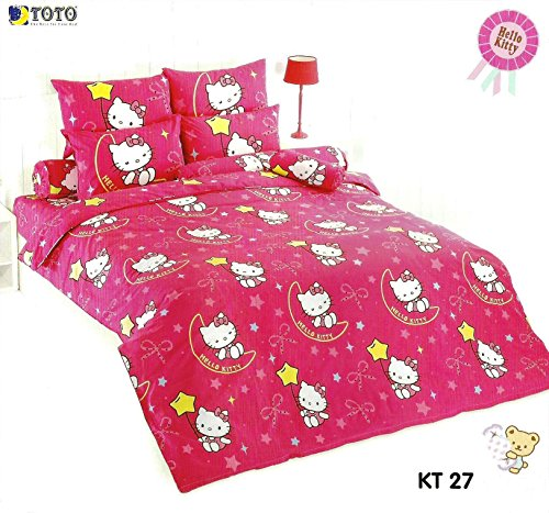 Hello Kitty Bed Fitted Sheet Set : King & Queen Size ; 4 Pieces (1 Bed Fitted Sheet, 2 Standard Pillow Case And 1 Standard Bolster Case) (King, Kt27) front-876176