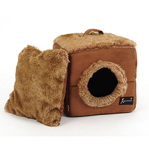 Becoler Warm Winter Kennel,Fun and Practical Round Hole Square Pet Room Plush Cat House Dog Bed Cat Bed Pet Nest,Christmas Gift (Big) (Pampered Pets 2 Ds compare prices)