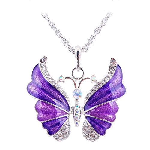 Eyourlife Christmas New Fashion Retro Butterfly Crystal Rhinestone Pendant Necklace Purple (Crystal Butterfly Pendant compare prices)
