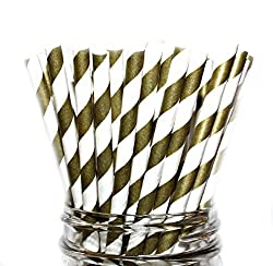 Paper Straws- Mix of Vintage-gold Stripes Party Disposable Straws (100 Straws)