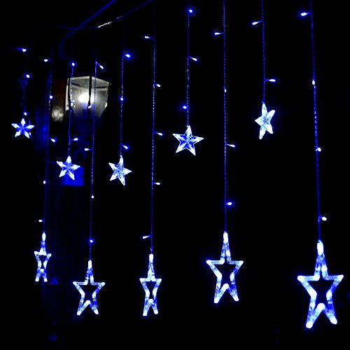blinngo led star curtain lights waterproof 138 led 12. Black Bedroom Furniture Sets. Home Design Ideas