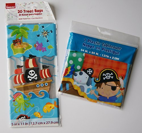 Boys' Pirate Party Pack - Table Cover, Treat Bags