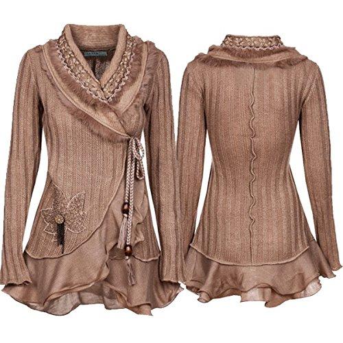 Damen Strick Woll Patchwork Jacke Strickjacke Wolljacke Patchworkjacke Mantel S M L XL, Farbe:Beige;Größe:36/38