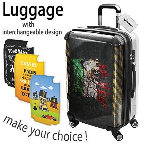 Bandiera Strappati Messico, Luggage Valigia Bagaglio Ultraleggero Trasportabile Rigido con 4 Route e Disegno Intercambiabile. Dimensione: medio, M