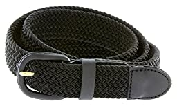 CTM® Mens Elastic Braided Belt with Covered Buckle (Big & Tall Available), Large, Black