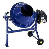 コンクリートミキサー 青 1.25切 練上量30L ドラム容量63L 電動 モーター式 混練機 攪拌機 かくはん機 コンクリート モルタル 堆肥 肥料 飼料 園芸 タイヤ 車輪 キャスター ミキサー 攪拌 かくはん 混錬 混ぜる 練る ブルー BLUE