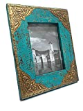 Shivay Arts Wooden & Brass Distress Finish Photo Frame Sea Green