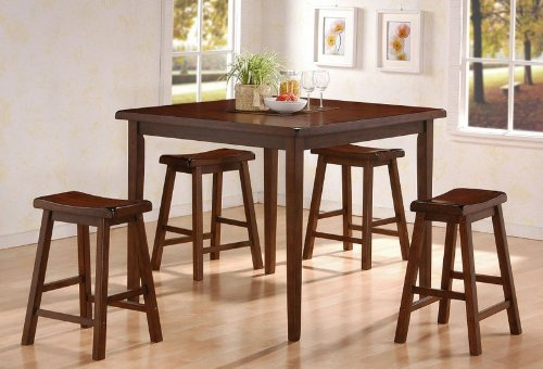 Buy Low Price Coaster 5pc Counter Height Dining Table & Stools Set Walnut Finish (VF_AZ00-17160×28556)