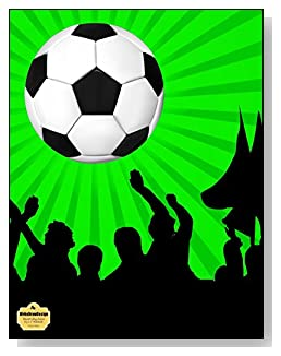 Soccer Fans Notebook - For the soccer lover in your life! A bright green and black background behind a large soccer ball make a dramatic combination for the cover of this blank and college ruled notebook with blank pages on the left and lined pages on the right.