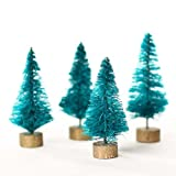 Package of 24 Miniature Christmas Sisal Forest Trees Only 2 Inches Tall on Wooden Bases