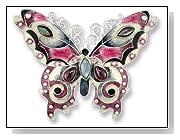 Garnet Butterfly Sterling Silver & Enamel Pin