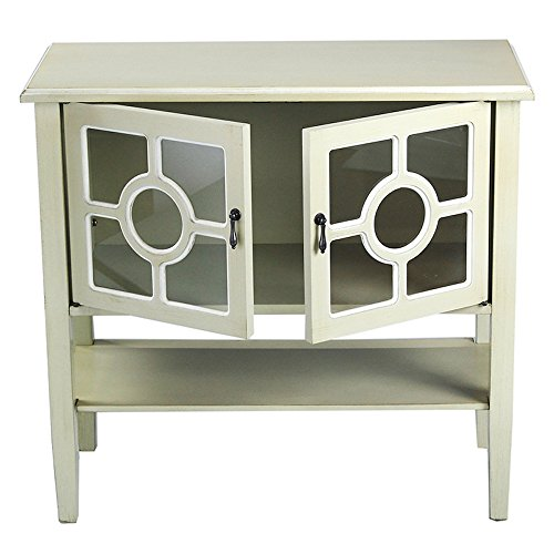 Heather Ann Creations 2 Door Console Cabinet With 4 Pane Circle Glass Insert Beige With White