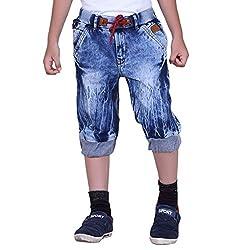 Naveens 3/4 Th Light Blue Printed Boys Capri_ 9-10 Years
