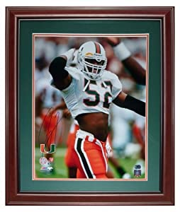 Ray Lewis Autographed Miami Hurricanes (White Jersey) Deluxe Framed 16x20 Photo by PalmBeachAutographs.com