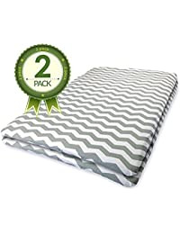 Pack N Play Crib Sheets For Baby Girl & Baby Boy - 100% Cotton - 2 Pack Of Grey Chevron Fitted Sheets - Fits Standard...