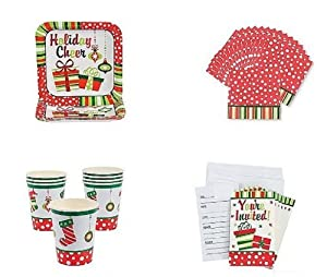 Amazon com christmas party pack paper plates paper cups lunch napkins