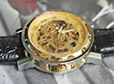 Men's Winner *Hot Sell 2013* Stainless Steel, Transparent Gold Dial,Steampunk Skeleton Mechanical Hand-Wind, Leather Strap Boys Sport Watch - Free UK Delivery + Gift Box Included!