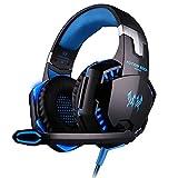 VersionTech EACH G2000 3.5mm ステレオ LED照明 耳を掛け ゲーム ゲーミング ヘッドセット ヘッドフォン ヘッドバンド マイク付き PCゲーム用 騒音隔離&ボリュームコントロール「ブルー」