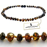 Amber Teething Necklace for Babies - Anti Inflammatory, Drooling and Teething Pain Reducing Natural Remedy - Made of Highest Quality Certified Baltic Amber - Polished Dark Greenish Amber Beads - 100 Days 100% Satisfaction, Money-Back Guarantee!