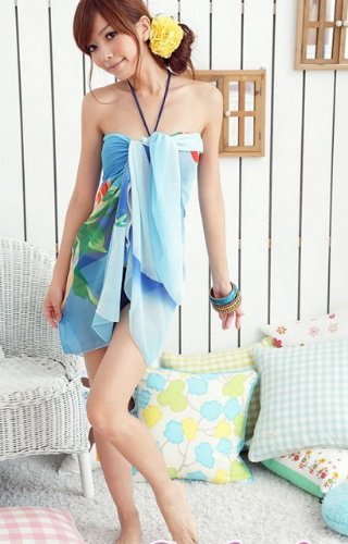 Tamari Blue Sarong Beach Cover Up Wrap Dress One Size