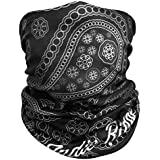 Paisley Outdoor Face Mask Buff By IndieRidge - 100% Microfiber Multifunctional Seamless Headwear 11+ Ways to Wear for Motorcycle Hiking Cycling Ski Snowboard Lifetime Warranty, Great for Coachella