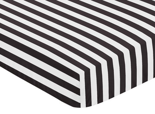 Fitted Crib Sheet for Paris Baby or Toddler Bedding by Sweet Jojo Designs - Black and White Stripe (Black White Crib Sheet compare prices)