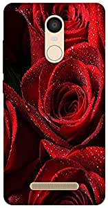 The Racoon Lean printed designer hard back mobile phone case cover for Xiaomi Redmi Note 3. (Red Rose)