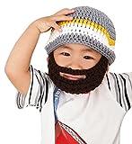 Boys Ski Wacky Beard Knit Winter Hat Beanie Grey