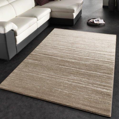 Moderner Velours Kurzflor Designer Teppich 120 x 170 cm mit Farbverlauf In Creme Beige