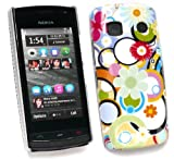 EMARTBUY LCD SCREEN PROTECTOR AND CIRCLES & FLOWERS SUPER SLIM CLIP ON PROTECTION CASE/COVER/SKIN FOR NOKIA 500