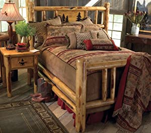 Amazon.com - Custom Rustic Country Western Bed Frame Cabin Log Bed ...