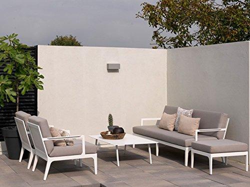 SEVILLA Lounge Gartenmöbel Lounge B 4-teilig Gartenset Alu Weiß & Taupe