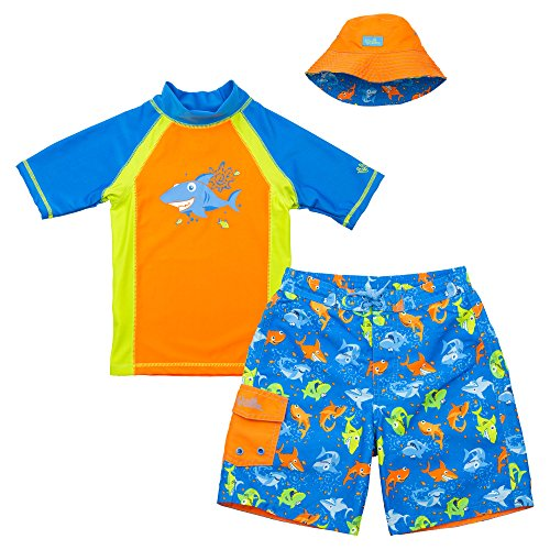 Uv Skinz Boys' 3-piece Swim Set, 3T, Orange Happy Sharks