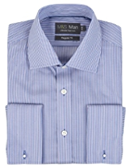 2in Longer Performance Non-Iron Pure Cotton Sateen Striped Shirt