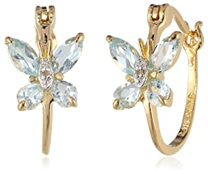 18k Yellow Gold Plated Sterling Silver and Diamond Accent Butterfly Hoop Earrings by Amazon Curated Collection