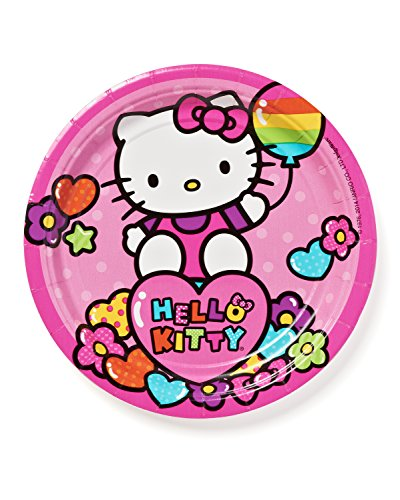 Adorable-Hello-Kitty-Rainbow-Round-Paper-Plates-Birthday-Party-Disposable-Tableware-8-Pack-Pink-7