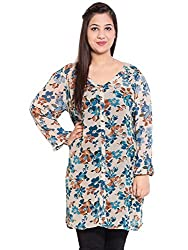 KASHANA Georgette Multi Colored Floral Printed Mamma Plus Size Women Ladies Casual Tunic